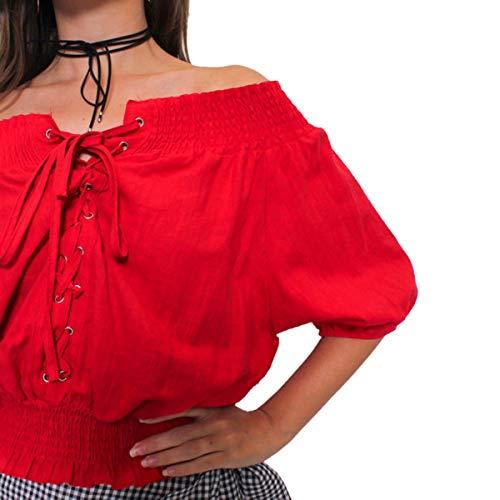 Con Gadfjuotg Maniche Red Sexy Lunga Manica Camicetta Lunghe Solid Scollo V A qwwp6gBxI