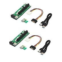 LiNKFOR 2 set PCI-E 16x to 1x Powered Riser Adapter Card / 60cm USB 3.0 Extension Cable With SATA to 4pin Power Cable
