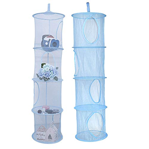 Hanging Mesh Space Saver Bags Organizer 4 Compartment, Mesh Hanging Storage Basket,Pack of 2 Kids Room Storage Organizer for Stuffed Animal Toys (Blue)