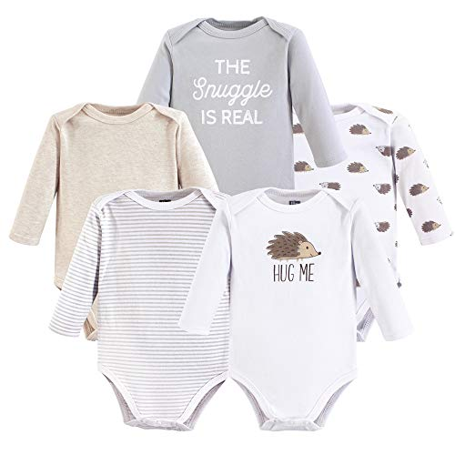 Hudson Baby Unisex Baby Long Sleeve Cotton Bodysuits, Hedgehog Long Sleeve 5 Pack, 18-24 Months ()