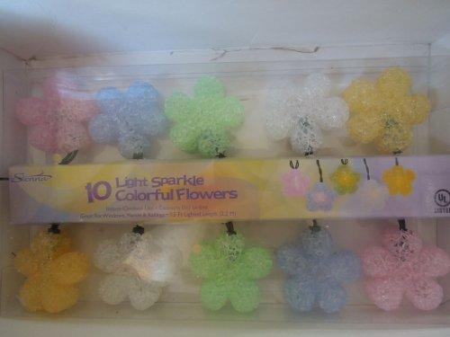 Multi Color 10 Light Sparkle Pastel Colorful Flowers (Flower Lights Colorful String)