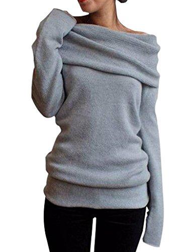 Pullover Wollmantel Strick Sweatshirt Strickjacke Sweater Damen Mädchen Off-Shoulder Stretch Langarm Herbst Winter