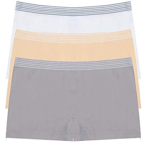 DEEP TOUCH Boy Shorts Underwear for Women, Boyshorts Panties for Women, Premuim Womens Underwear (Pack of 3(Light Gray,White,Nude), Large) - Lines Boy Short