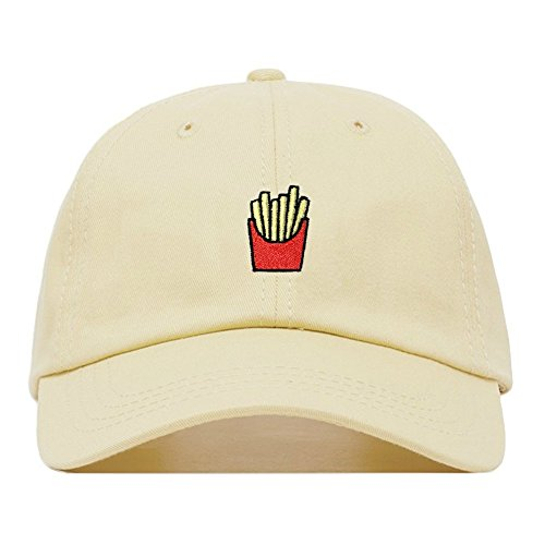 French Fries Dad Hat, Embroidered Baseball Cap, 100% Cotton, Unstructured Low Profile, Adjustable Strap Back, 6 Panel, One Size Fits Most (Multiple Colors) (Beige) ()