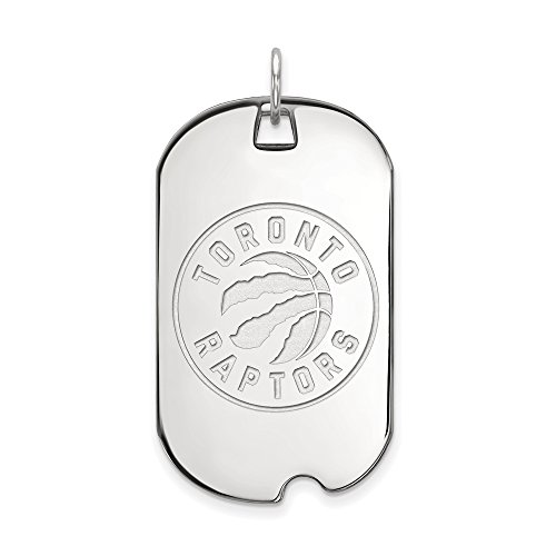 NBA Toronto Raptors Large Dog Tag Pendant in Rhodium Plated Sterling Silver by LogoArt