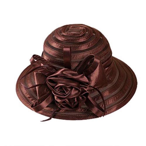 Tea Outfit (WOMEN'S Oganza Sun Hat Cloche Oaks Church Dress Bowler Derby Wedding Hat Party (Brown))