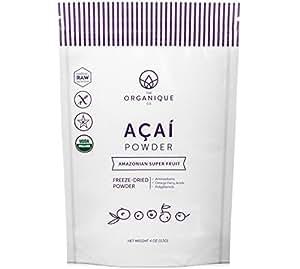 Acai Berry Powder - Certified Organic, Raw, Freeze Dried, Superfood - Low-Glycemic, High in Amino Acids, Antioxidants, Omega Fatty Acids, Vitamins & Fiber. Vegan, Paleo Gluten Free - by Organique 4oz