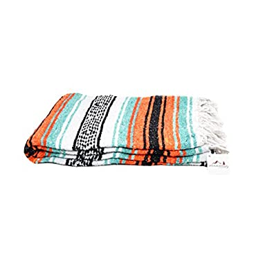 Mexican Blanket in Mint, Orange & Black - Great for the Beach, Picnics, Yoga, or as a Throw!!