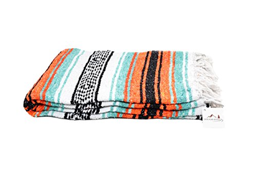 (Open Road Goods Mexican Blanket in Mint, Orange & Black - Great for The Beach, Picnics, Yoga, or as a Throw!!)