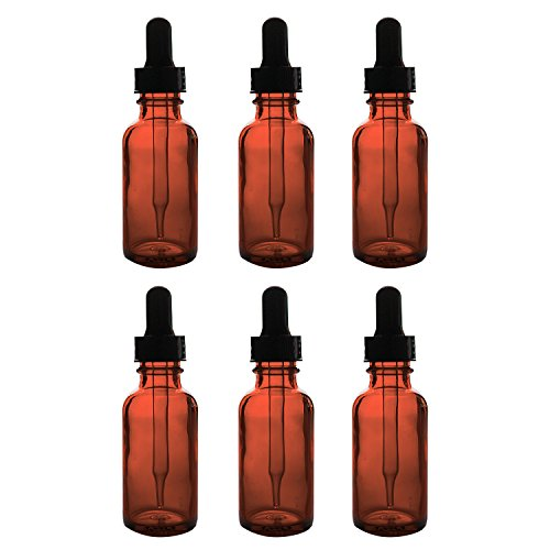 Liquid Dropper - 1oz Glass Bottles with Glass Eye Dropper Dispenser for Essential Oils, Kitchen Tools, Chemistry Lab Chemicals, Colognes & Perfumes (6 Pack) by Super Z Outlet (Amber)