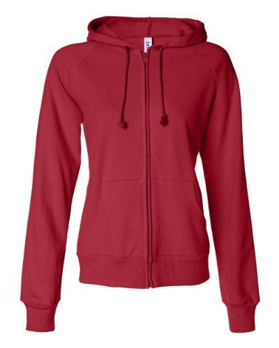 [Bella Women's Full-Zip Raglan Hoodie B7007, X-Large, Red] (Bella Girl Raglan Full Zip)