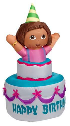 Incredible Gemmy Self Inflating Dora The Explorer On Happy Birthday Cake 4 Birthday Cards Printable Nowaargucafe Filternl