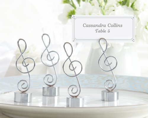 Love Songs Silver-Finish Music Note Place Card-Photo Holder Set of 4 (Set of 32)