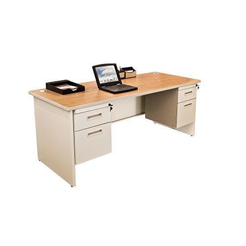 Pronto Double Pedestal Desk, 66W x 30D-Oak Laminate and Putty Finish NEW