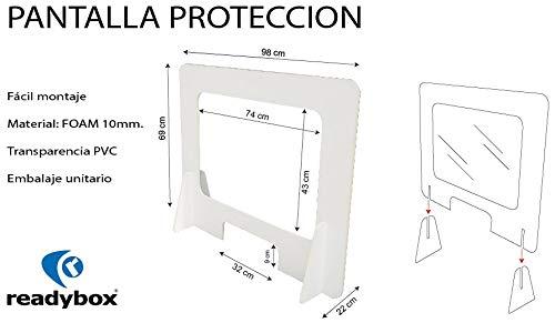 MAMP008 Pantalla de Protección de cartón foam, para mostrador de 98x69. Mampara ligera y resistente fabricada en foam de 1 cm, con ventana de PVC.: Amazon.es: Industria, empresas y ciencia