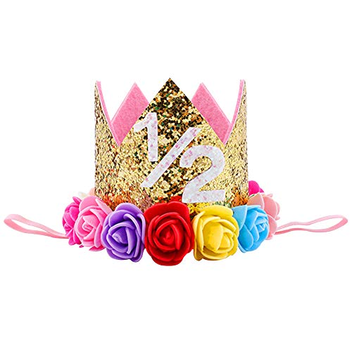 Baby Boy Girl Princess Tiara Crown Number Headwear Headband Kids Glitter 1/2 1st 2 3 First Birthday Cake Smash Hat Sparkle Gold Rose Flower Party Hairwear Hair Accessories Photography Props # Gold 1/2