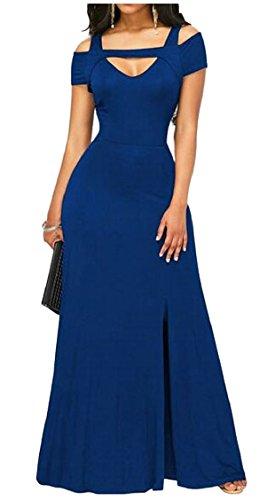Blue Front Long Women Split Party Dress Dark Jaycargogo Sexy Cold V Shoulder Neck Slim 4fHnOSx