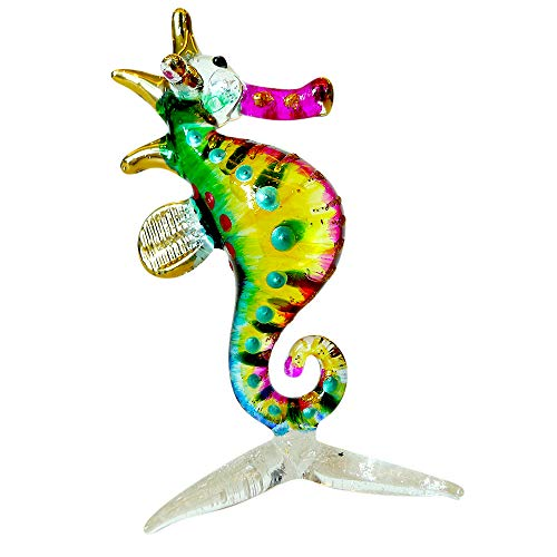 Sansukjai Seahorse Figurines Sea Animals Hand Painted Multi-Color Hand Blown Glass Art Gold Trim Collectible Gift Decorate