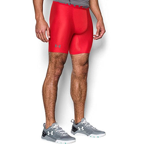 Under Armour mens HeatGear Armour 2.0 6-inch Compression Shorts, Red (600)/Graphite, ()