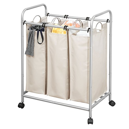 (mDesign 3 Section Heavy Duty Laundry Sorter/Organizer Rolling Cart with Easy-Glide Wheels – Durable Steel Frame in Silver with Removable Water-Resistant Canvas Fabric Bags in Cream/Ivory)