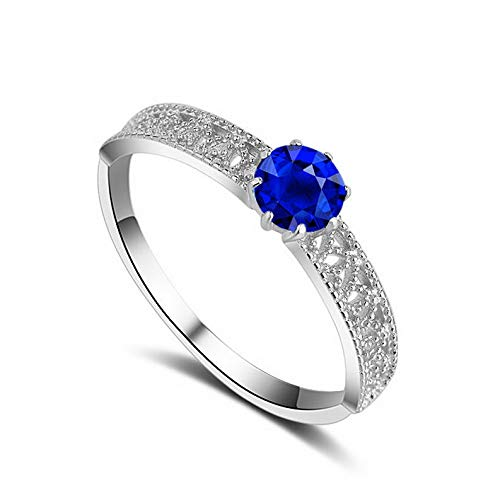 (Tomikko Blue Sapphire Wedding Jewelry Womens 925 Silver Engagement Party Ring Size 4-9 | Model RNG - 24712 | 8,5)