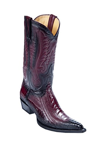 (Los Altos Men's 3X-Toe Faded Burgundy Genuine Leather Ostrich Leg Skin Western Boots W/Cowboy)