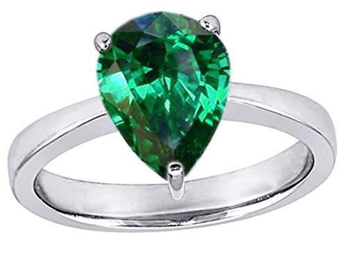 Star K Large 11x8mm Pear Shape Solitaire Ring with Simulated Emerald Sterling Silver Size 7 (Emerald Shape Ring Setting)