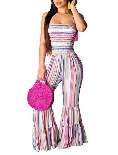 Ophestin Womens Rainbow Stripe Spaghetti Strap Cami Bell Bottom Bodycon Jumpsuit Pink L