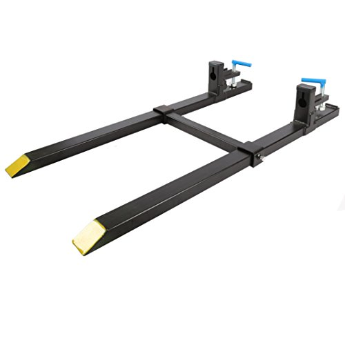 New Clamp on Pallet Forks w/ Adjustable Stabilizer Bar LW for loaders 1500lb