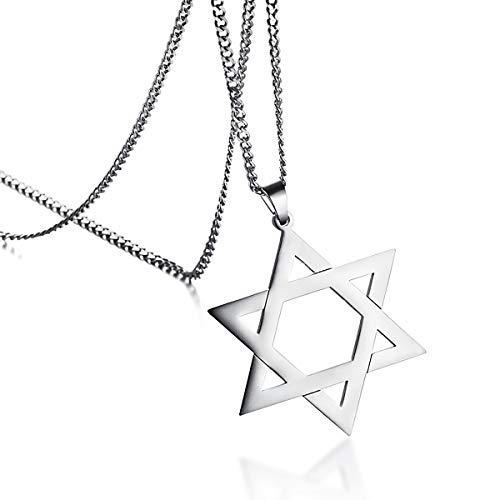 HooAMI Jewish Jewelry Megan Star of David Pendant Necklace Women Men Stainless Steel Silver 24