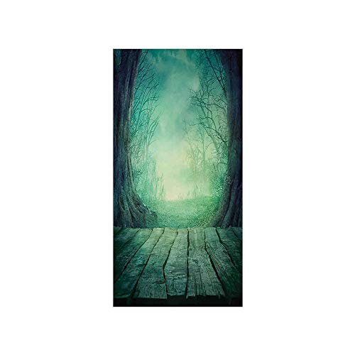 Decorative Privacy Window Film/Spooky Scary Dark Fog Forest with Dead Trees and Wooden Table Halloween Horror Theme Print/No-Glue Self Static Cling for Home Bedroom Bathroom Kitchen Office Decor -