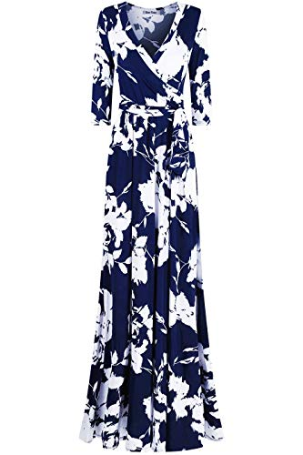 Bon Rosy Women's #MadeInUSA 3/4 Sleeve V-Neck Printed Maxi Faux Wrap Floral Dress Summer Wedding Guest Party Bridal Baby Shower Maternity Nursing Navy White L
