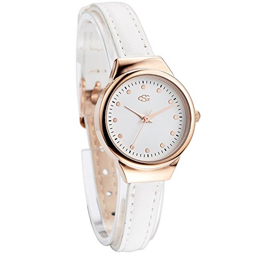 GEORGE SMITH Lady's 22 mm Small Luxury Rose Gold Tone White Dial Wristwatch with Refine Sober Hands (Gold Tone White Dial Watch)