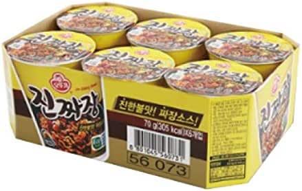 Ottogi Jin Jjajang Black Bean Paste Cup Noodle, 70g (Pack of 6)