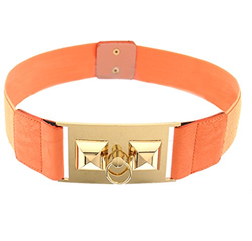 BlingKicks women's stretch pyramid stud ring color belt Coral One Size