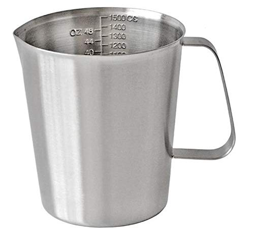 1500mL Measuring Cup, KSENDALO Stainless Steel Frothing Pitcher with Marking with Handle, (48 Ounces, 6 Cup)