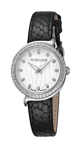 ROBERTO CAVALLI Women's RC-66 Stainless Steel Swiss Quartz Watch with Calfskin Leather Strap, Black, 22 (Model…