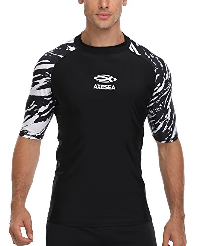 AXESEA Men's Short Sleeve Solid Sun Protection Rashguard Swim Shirt UPF 50+ (L, ()