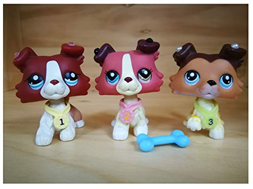 LPSFREE LPS Collie Set 1542 1262 58 Raised Paw Red Brown Different Eyes Dog Puppy with Accessories Lot Collars Collector Toy Kids Boys Girls Gift Set