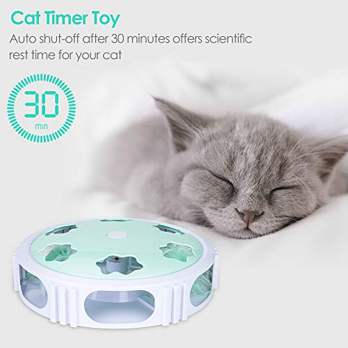 DELOMO Interactive Cat Toy, Automatic Teaser Cat Toy for Your Cat Training, Cat Squeaky Mouse Toy with Feather Bell and LED Light Stimulate Cat's Hunting Instinct 5