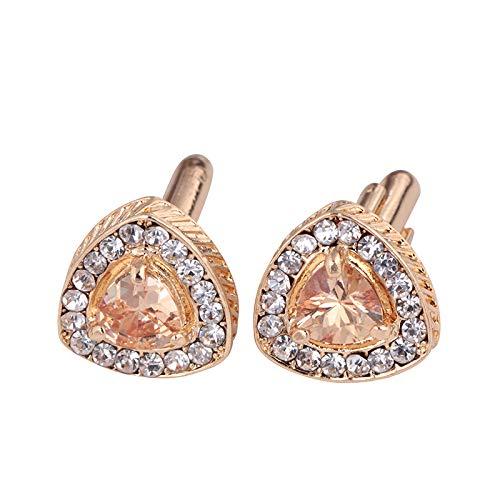 Freeby Cufflinks for Men Studs Crystal Polygon Cuff with French Diamond Rhinestone Sleeve Button (Gold)
