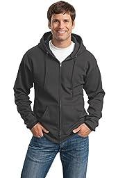 Port & Company Men\'s Classic Full Zip Hooded Sweatshirt 4XL Charcoal