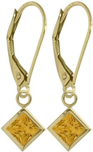 Girls 14K Yellow Gold 1.20 Carat Princess Cut Square 5mm Genuine November Citrine Leverback Gem Earrings