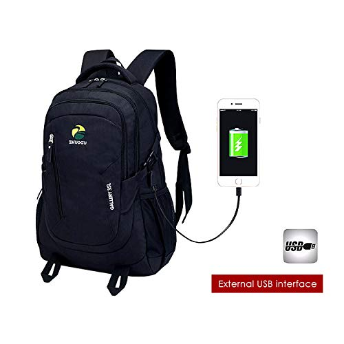 Laptop Backpack Business Travel School College Computer Laptop Bag for Students Women Men with USB Charging Port Fits 15.6 inch Laptop Notebook Computer Backpack (Black)