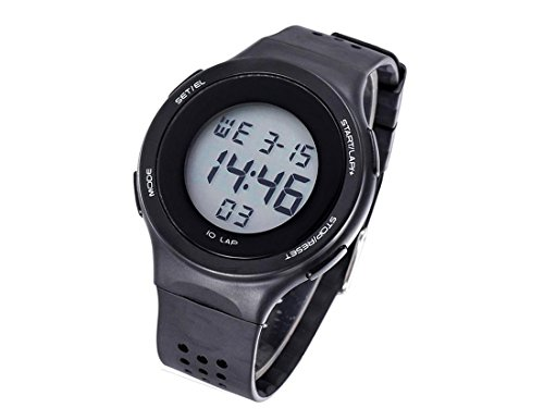 DUSENG Electronic Digital Couple Jelly Watch Water Resistant Sports Wristwatch with Rubber Band (Multifunction Black Rubber Watch)