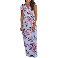 Risesun Women's Casual Floral Printed Long Maxi Dress with Pocket