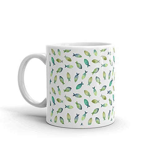 Watercolor Seamless Pattern Simple Silhouette Of Green And Blue Fish On White Kat Tea Fun Mug Cup Ceramic 11 Oz