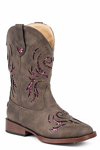 Roper Kids Glitter Breeze Round Toe Brown Boots 10