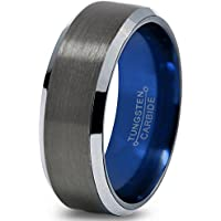 Chroma Color Collection Tungsten Wedding Band Ring 8mm Men Women Blue Black Gunmetal Beveled Edge Brushed Polished