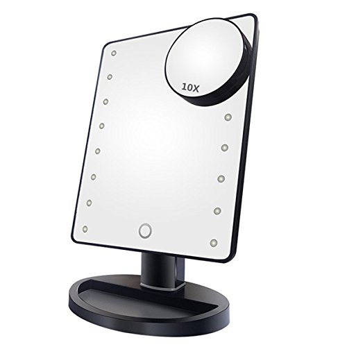 NEWQIBEAUTY Lighted Makeup Mirror with 16 LED Lights,Remo...